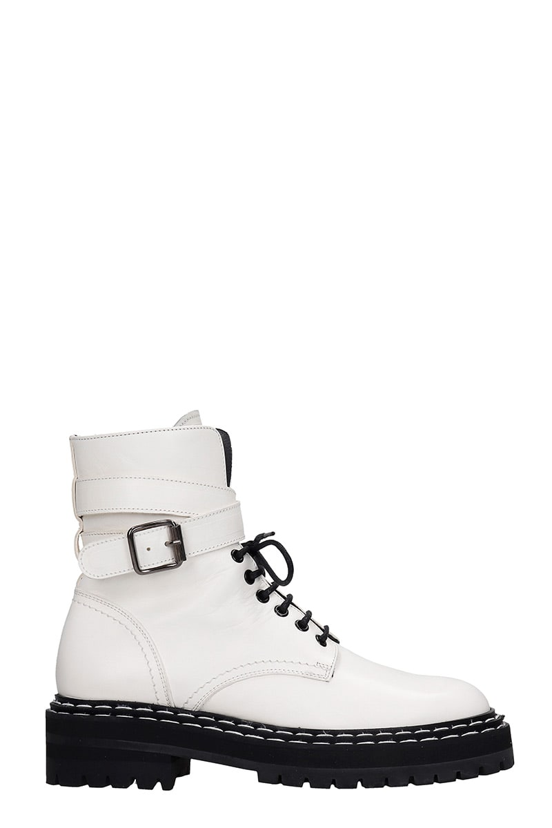Officine Creative PROVENCE COMBAT BOOTS IN WHITE LEATHER