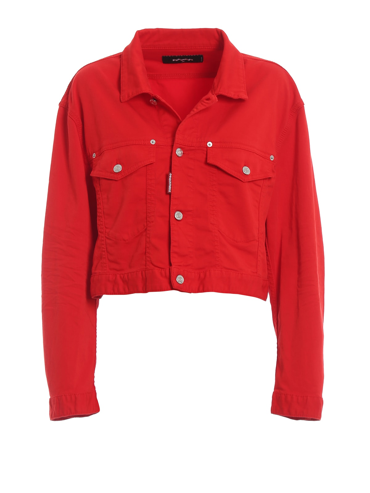 Dsquared2 Red Cotton Denim Cropped Jacket S75am0629s44531309