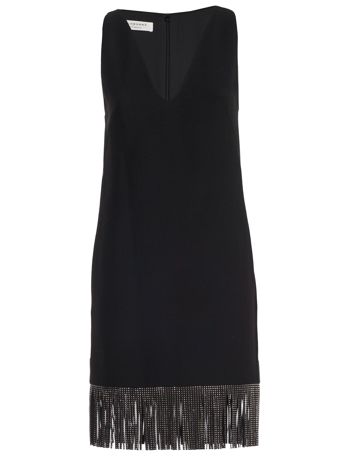 Philosophy di Lorenzo Serafini Dress W & s V Neck W & fringes Faux Fur