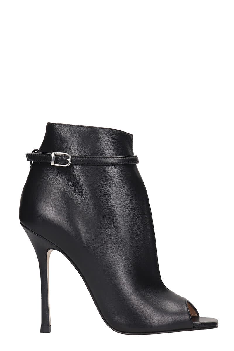 Marc Ellis High Heels Ankle Boots In Black Leather