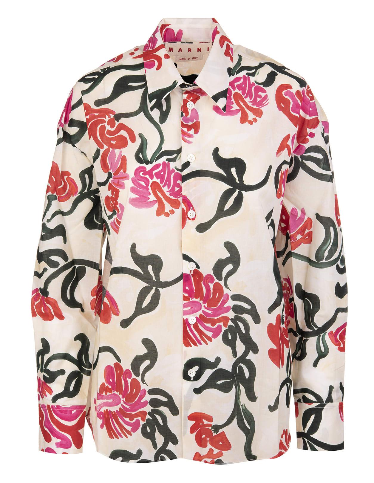 Marni Shirts FLORAL-PRINT LONG-SLEEVE SHIRT