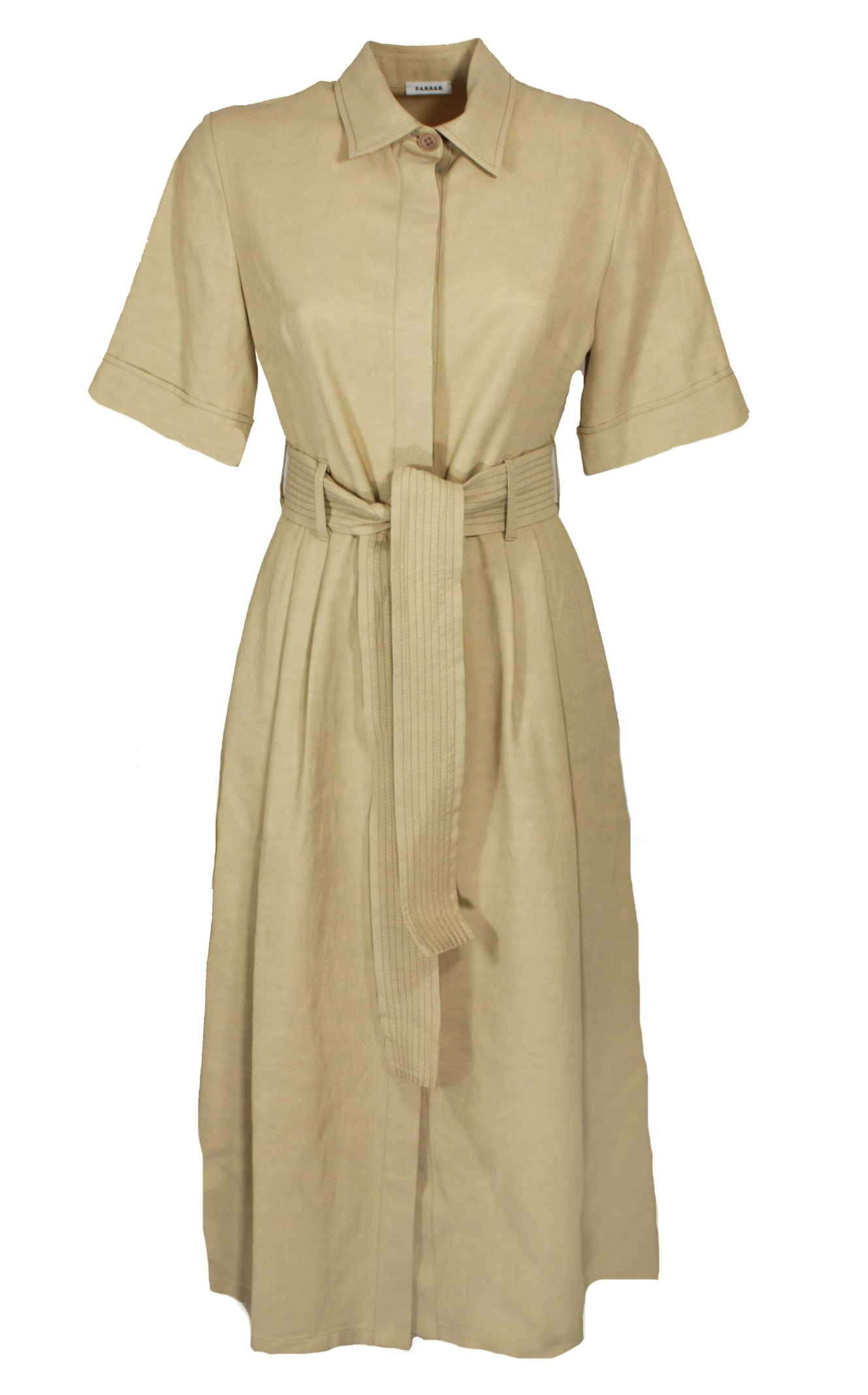 P.a.r.o.s.h. BELTED LINEN DRESS