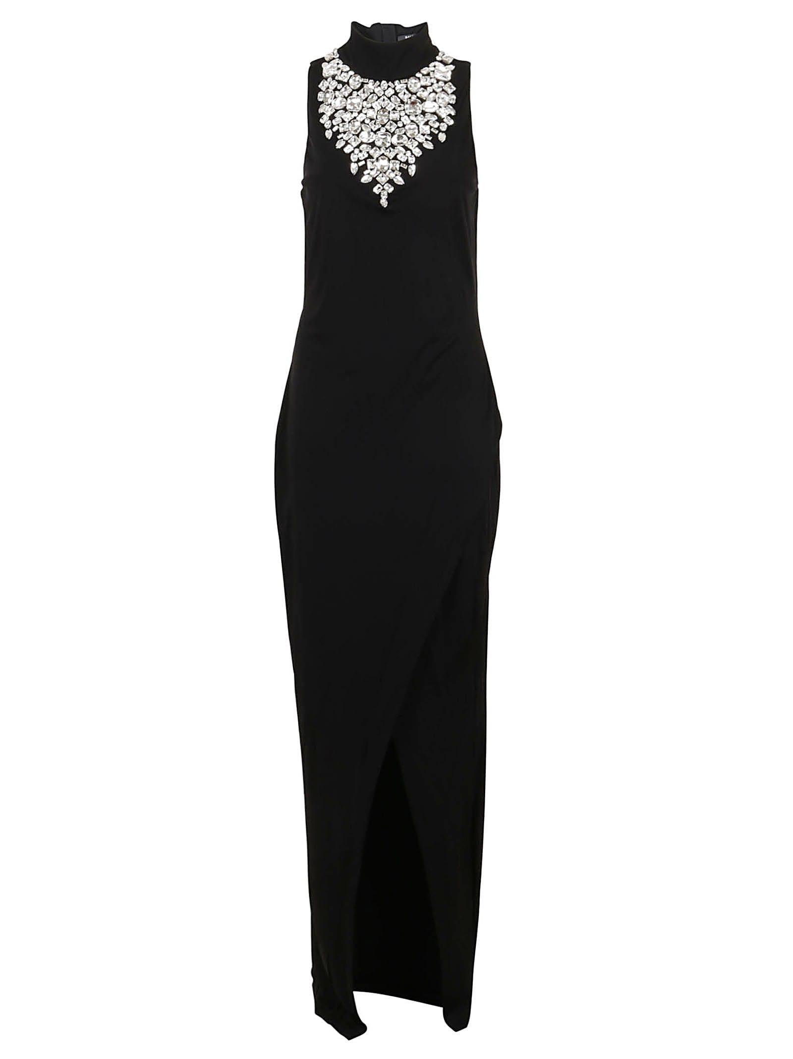 Balmain Long Sleeveless Embroidered Dress