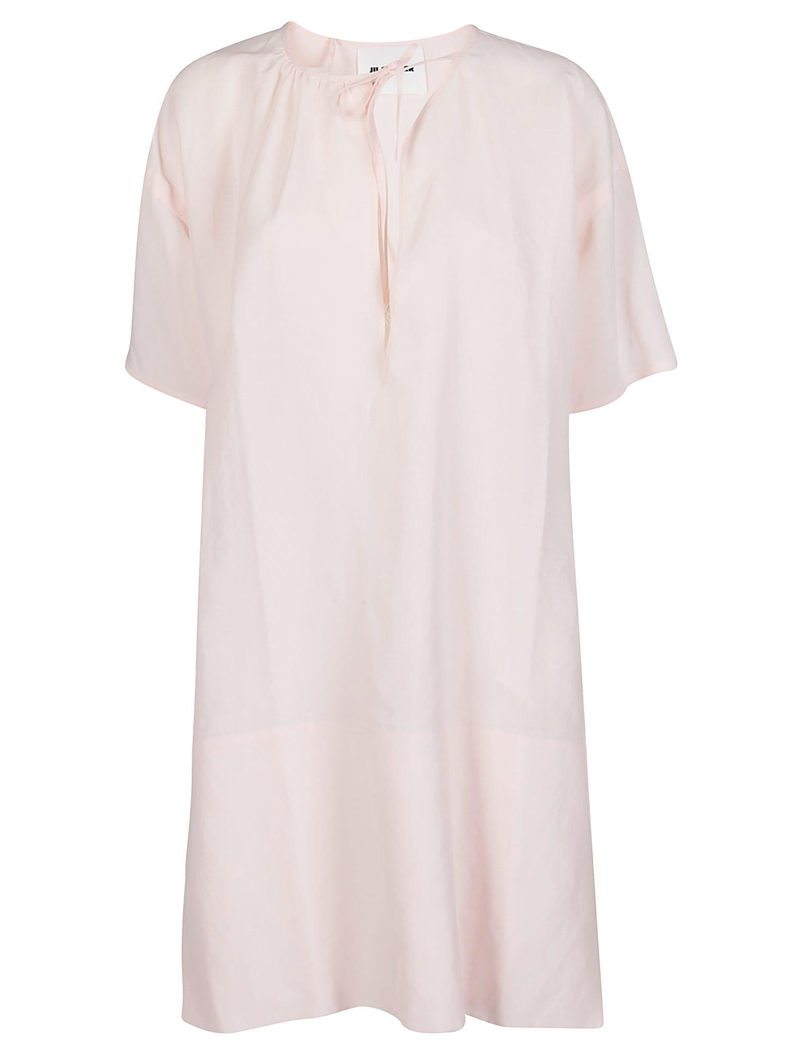 Buy Jil Sander Ligth Pink Viscose-linen Blend Dress online, shop Jil Sander with free shipping