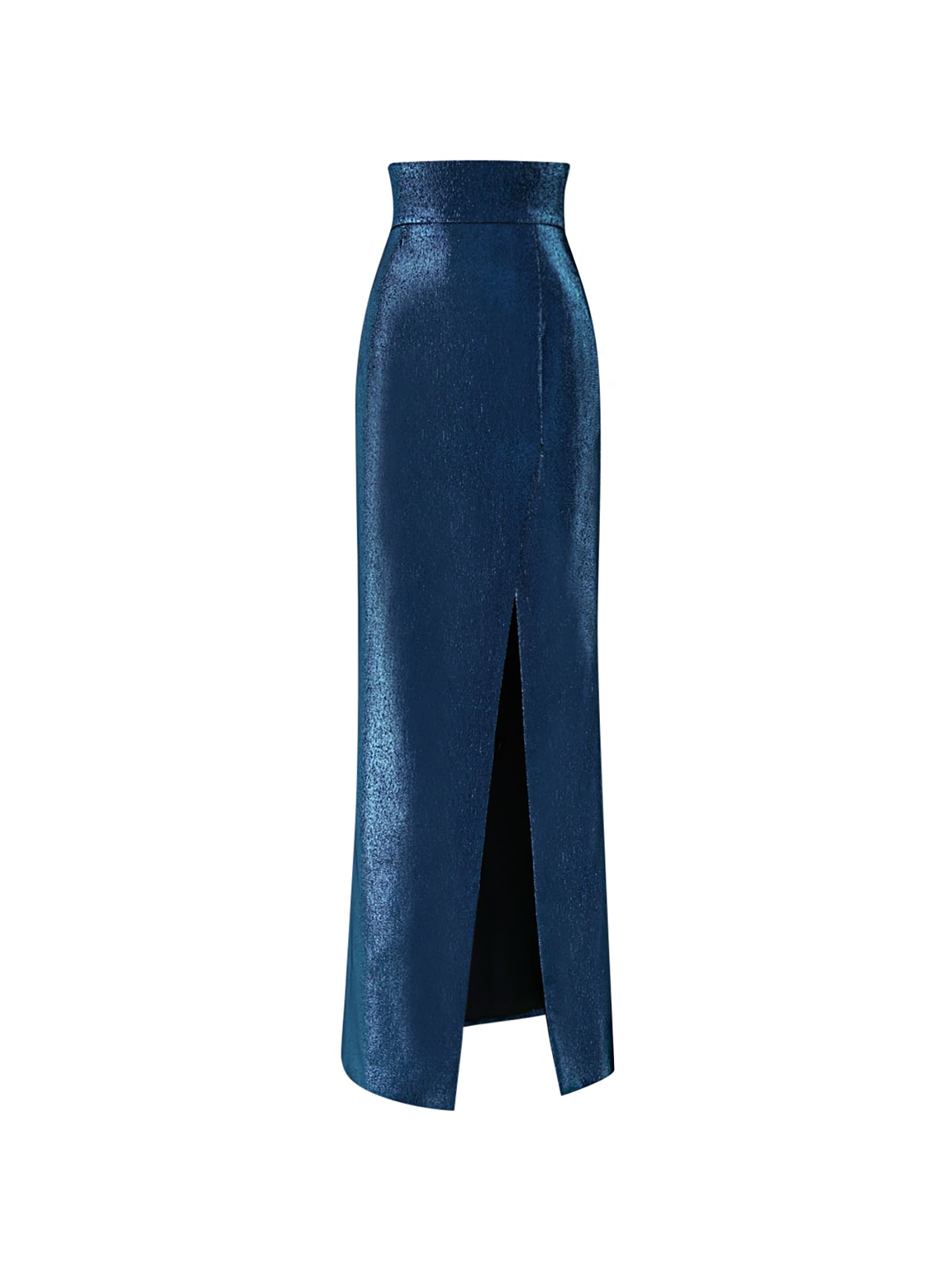 Blue High-rise Skirt With Lateral Rip