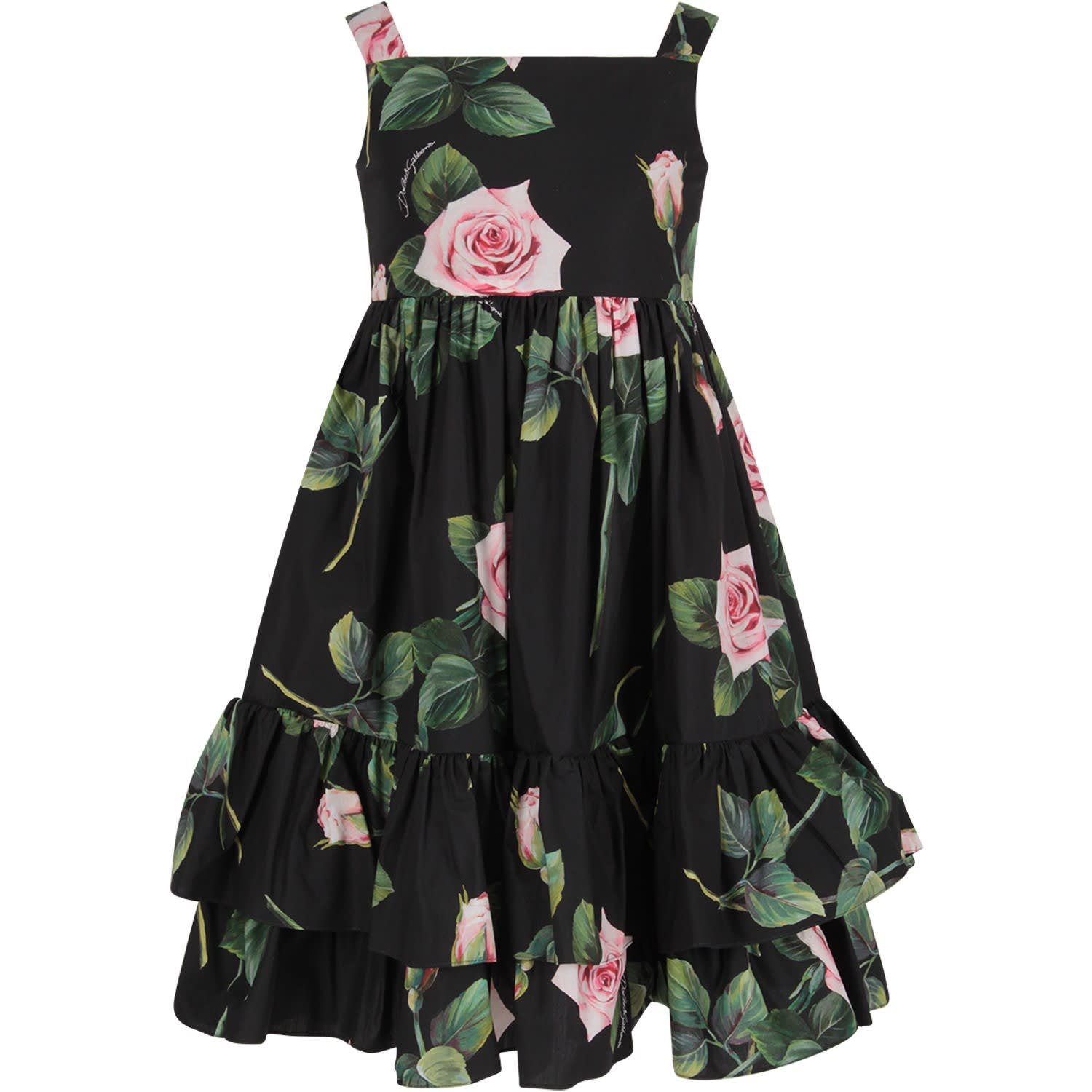 Buy Dolce & Gabbana Black Girl Dress With Iconic Roses online, shop Dolce & Gabbana with free shipping