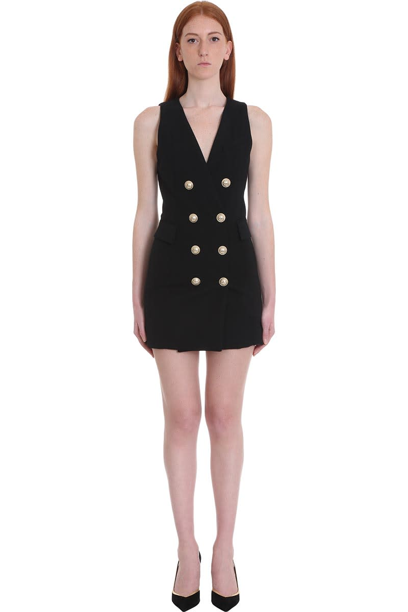 Balmain Dress In Black Cotton