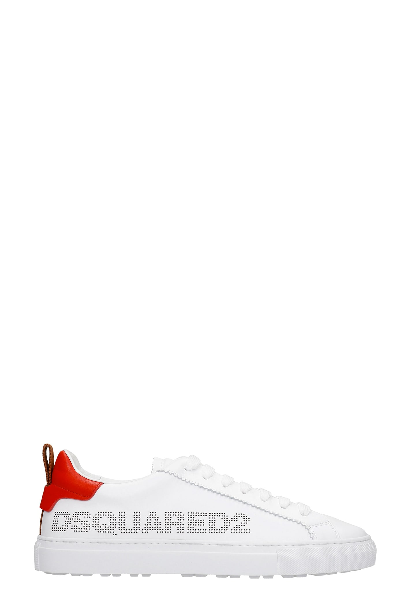 Dsquared2 Leathers SAN DIEGO SNEAKERS IN WHITE LEATHER