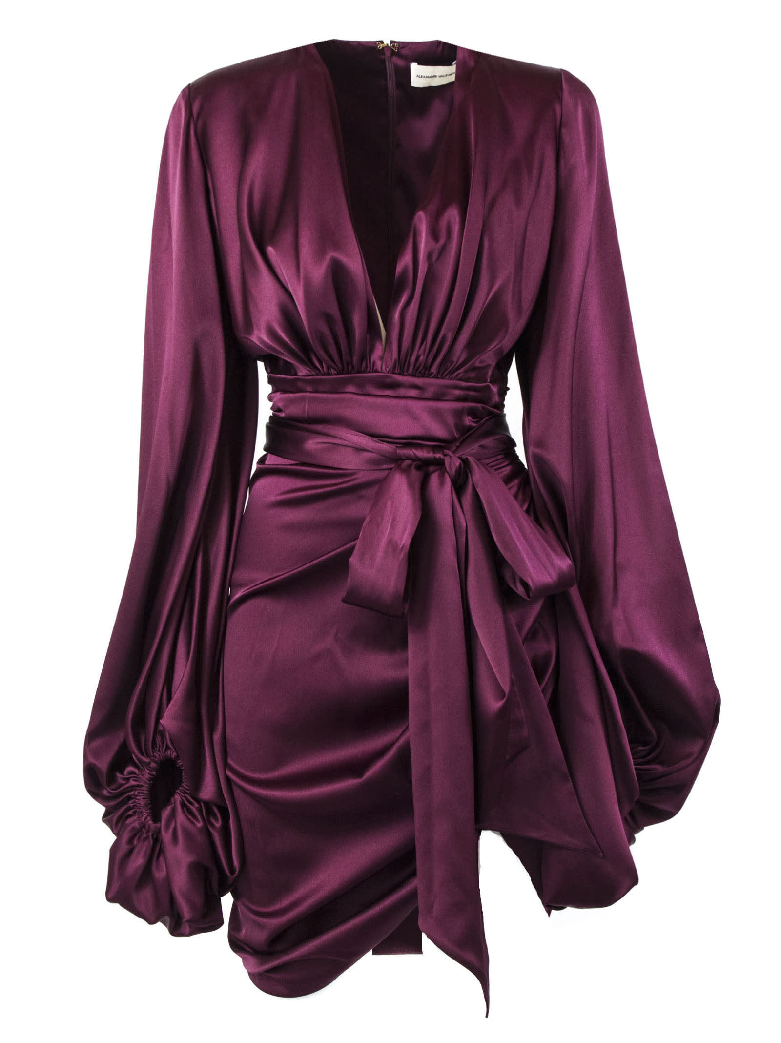Alexandre Vauthier Burgundy Silk-blend Mini Dress