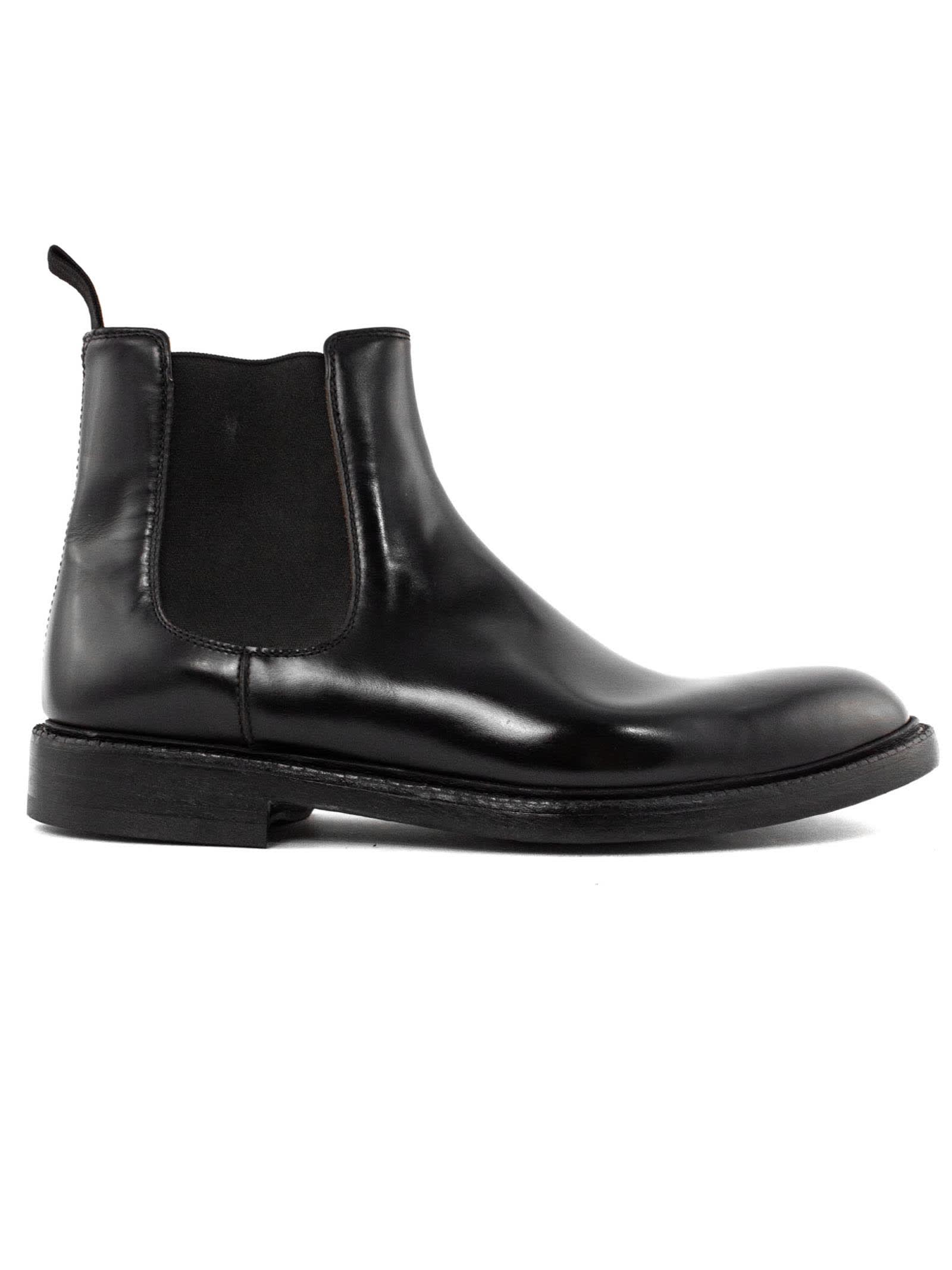 Black Smooth Leather Ankle Boot