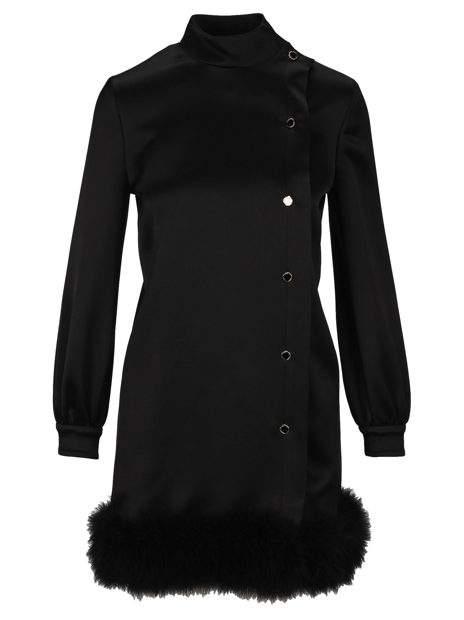 Buy Saint Laurent Feathers Trim Dress online, shop Saint Laurent with free shipping