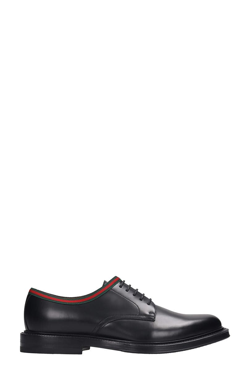 Gucci Lace Up Shoes In Black Leather