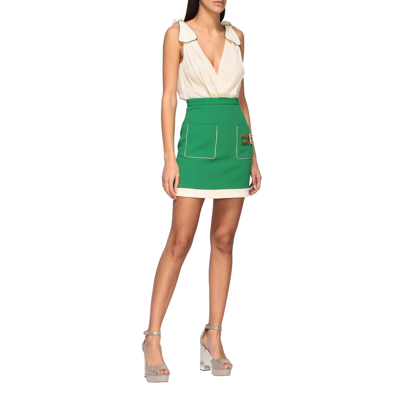 Buy Elisabetta Franchi Dress Elisabetta Franchi Bi-material Dress With Logo online, shop Elisabetta Franchi Celyn B. with free shipping