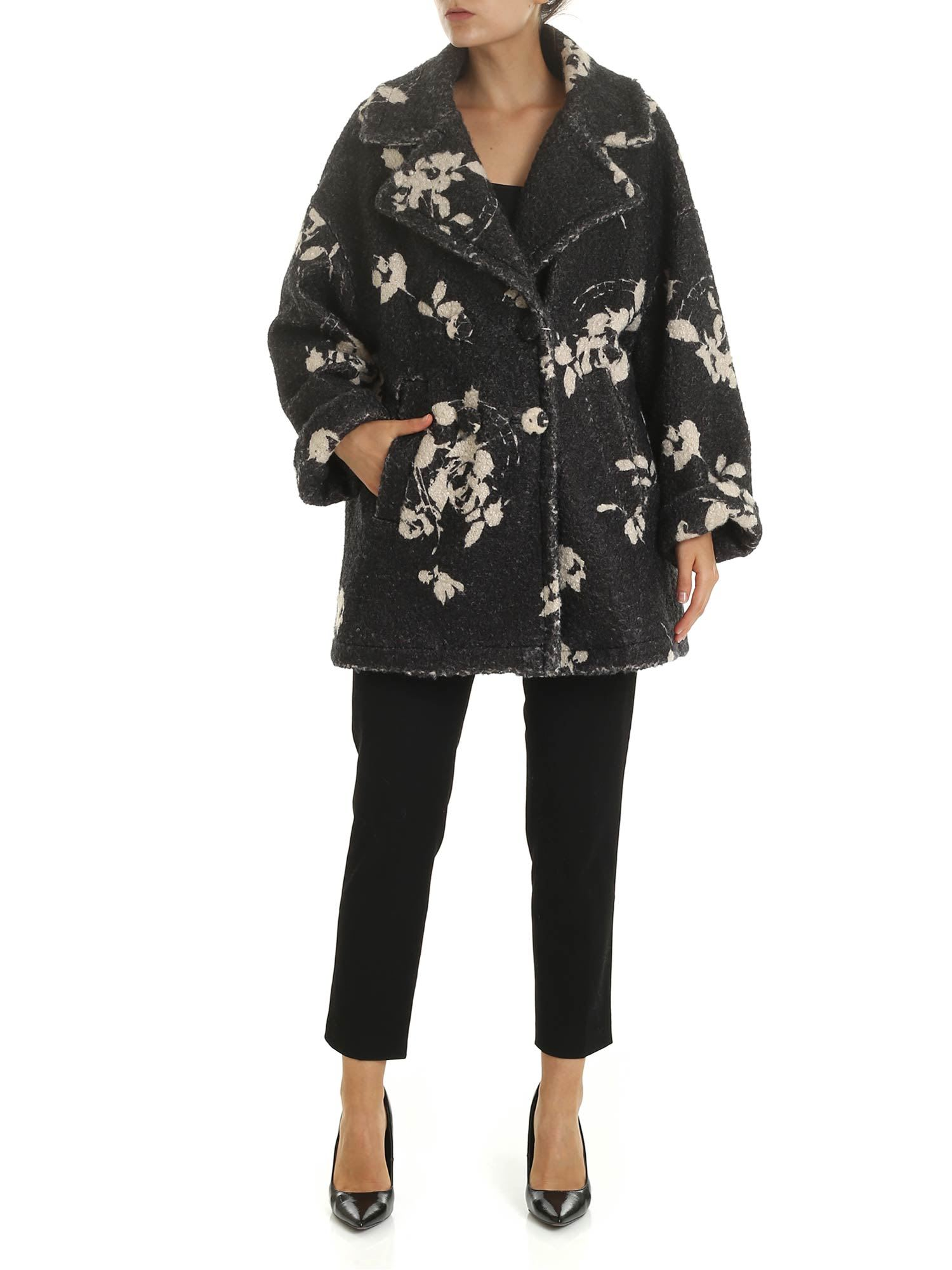 Herno Oversize Coat With Floral Print