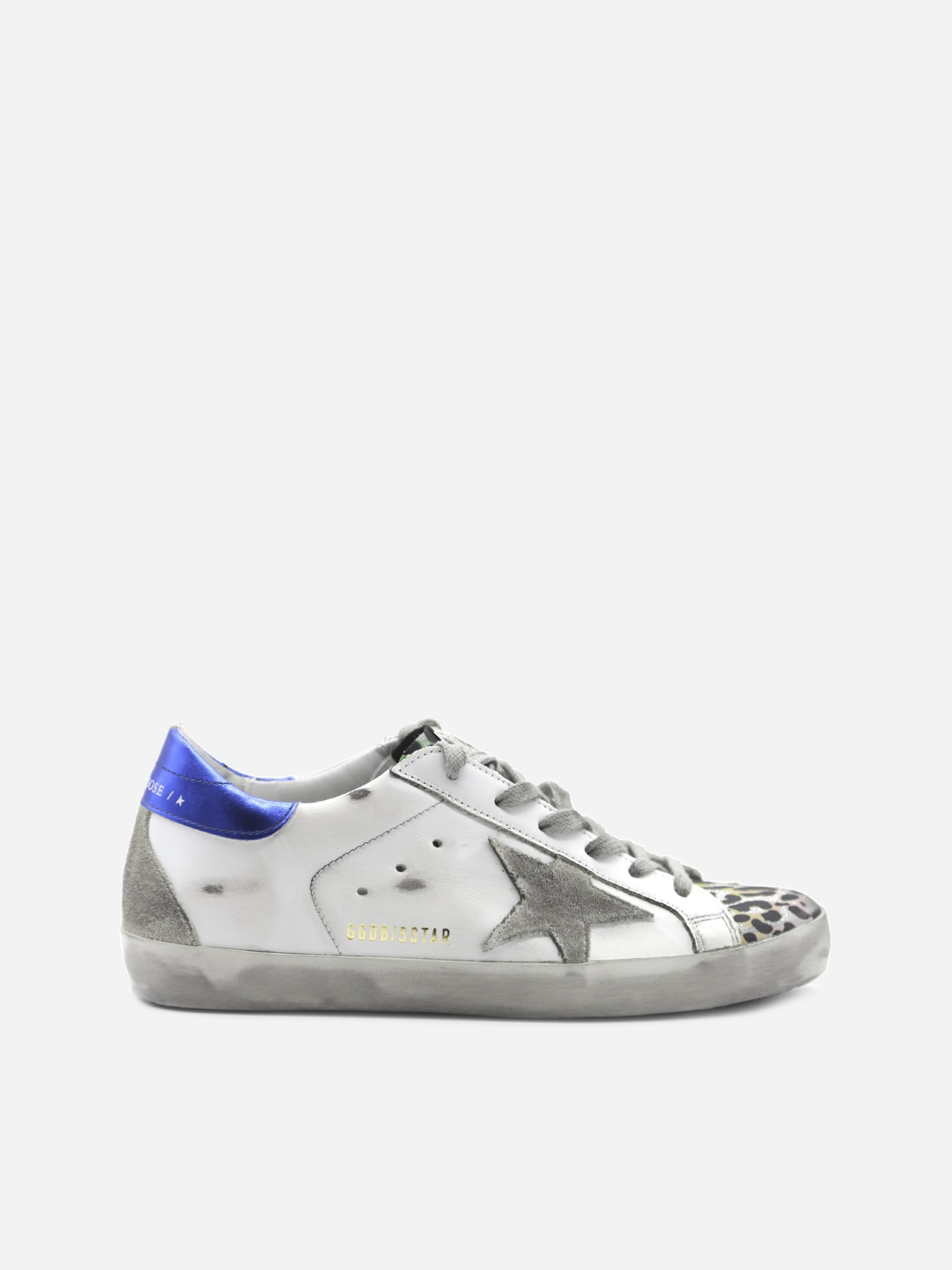 Golden Goose Superstar Sneakers In Leather With Laminated Effect Heel Tab