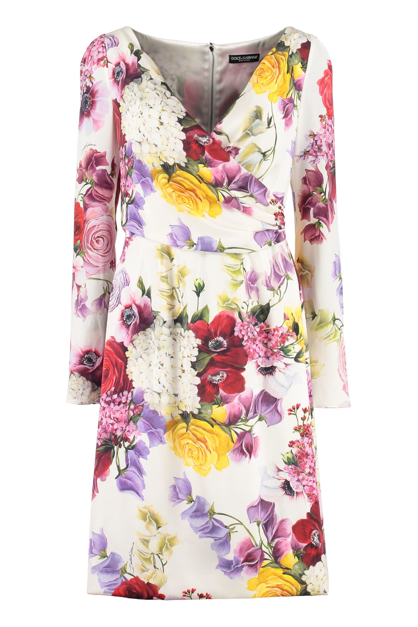 Dolce & Gabbana Floral Print Silk Sheath-dress