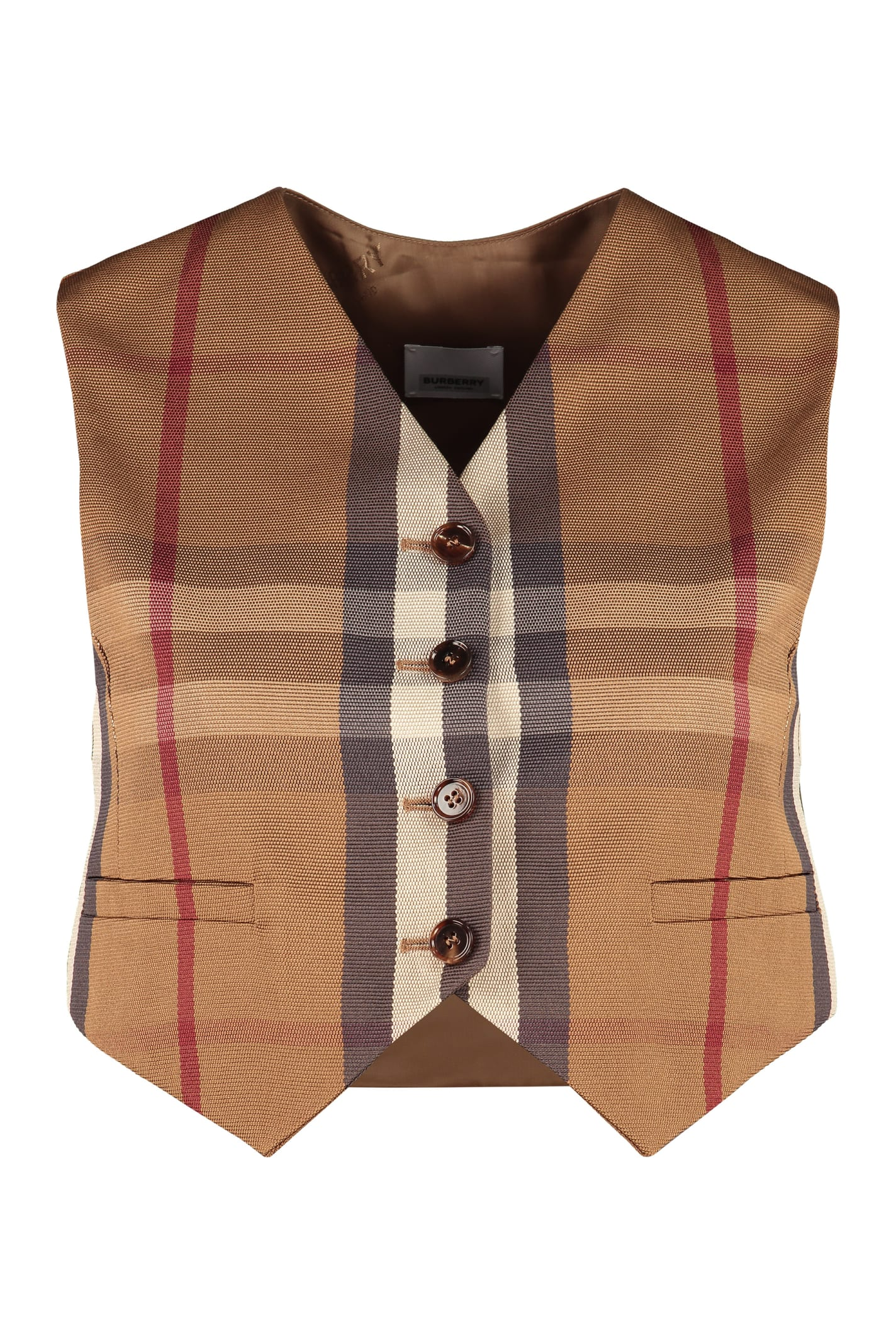 Burberry Checked Mixed Cotton Waist Coat In Beige