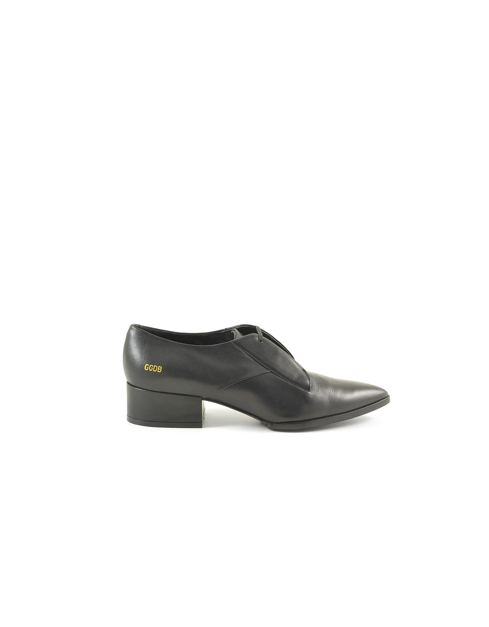 Buy Golden Goose Black Leather Pointy Oxford Shoes online, shop Golden Goose shoes with free shipping