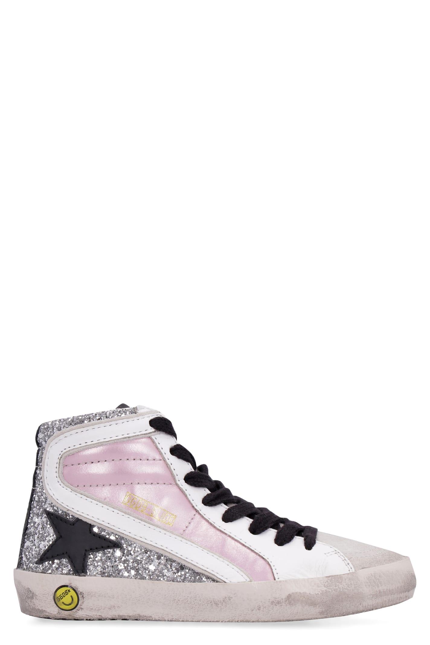 Golden Goose Slide Glitter Details High-top Sneakers