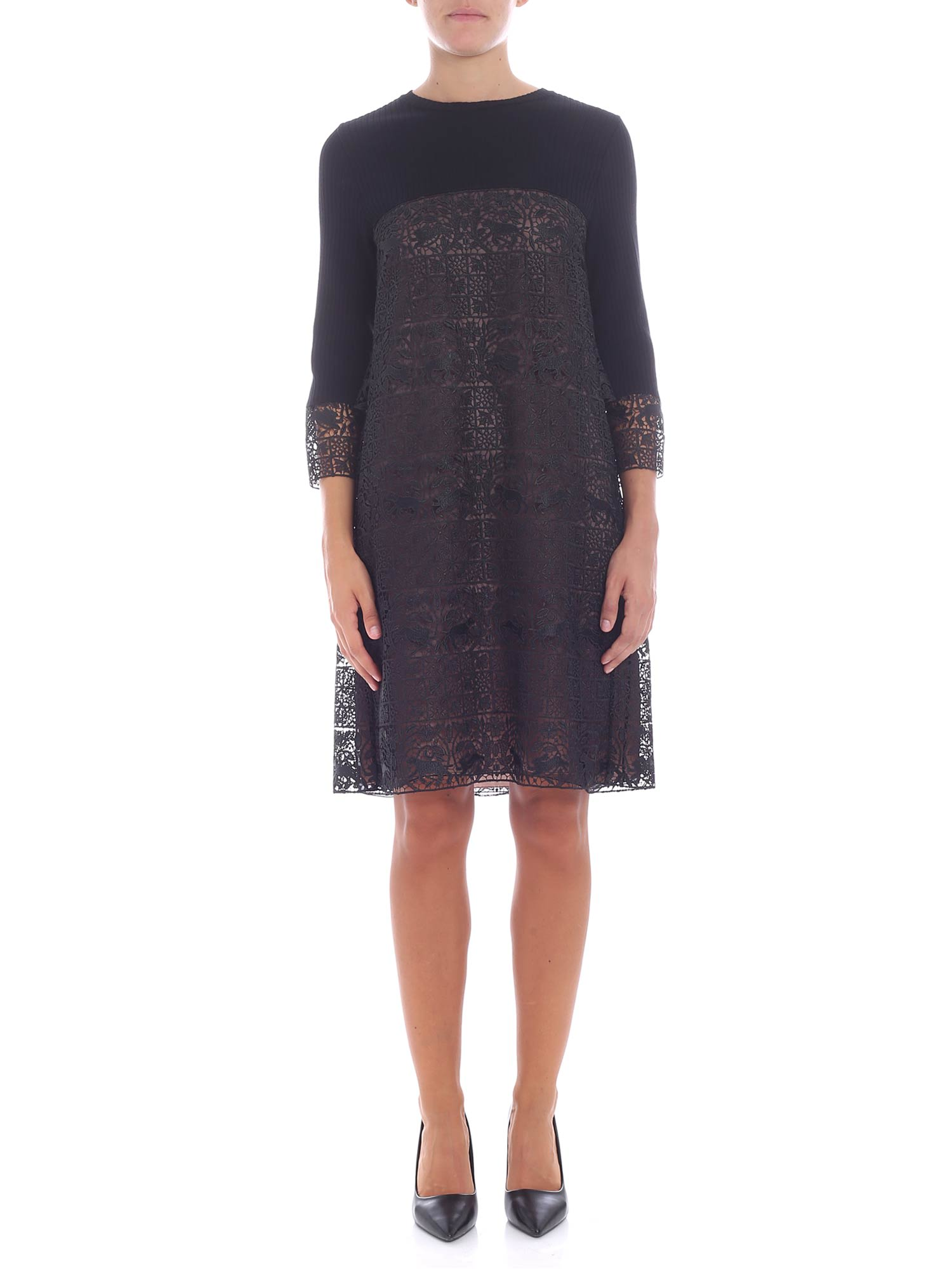 Buy Alberta Ferretti Wool And Lace Dress online, shop Alberta Ferretti with free shipping