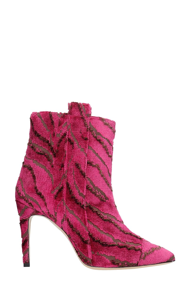 Bams High Heels Ankle Boots In Fuxia Fabric