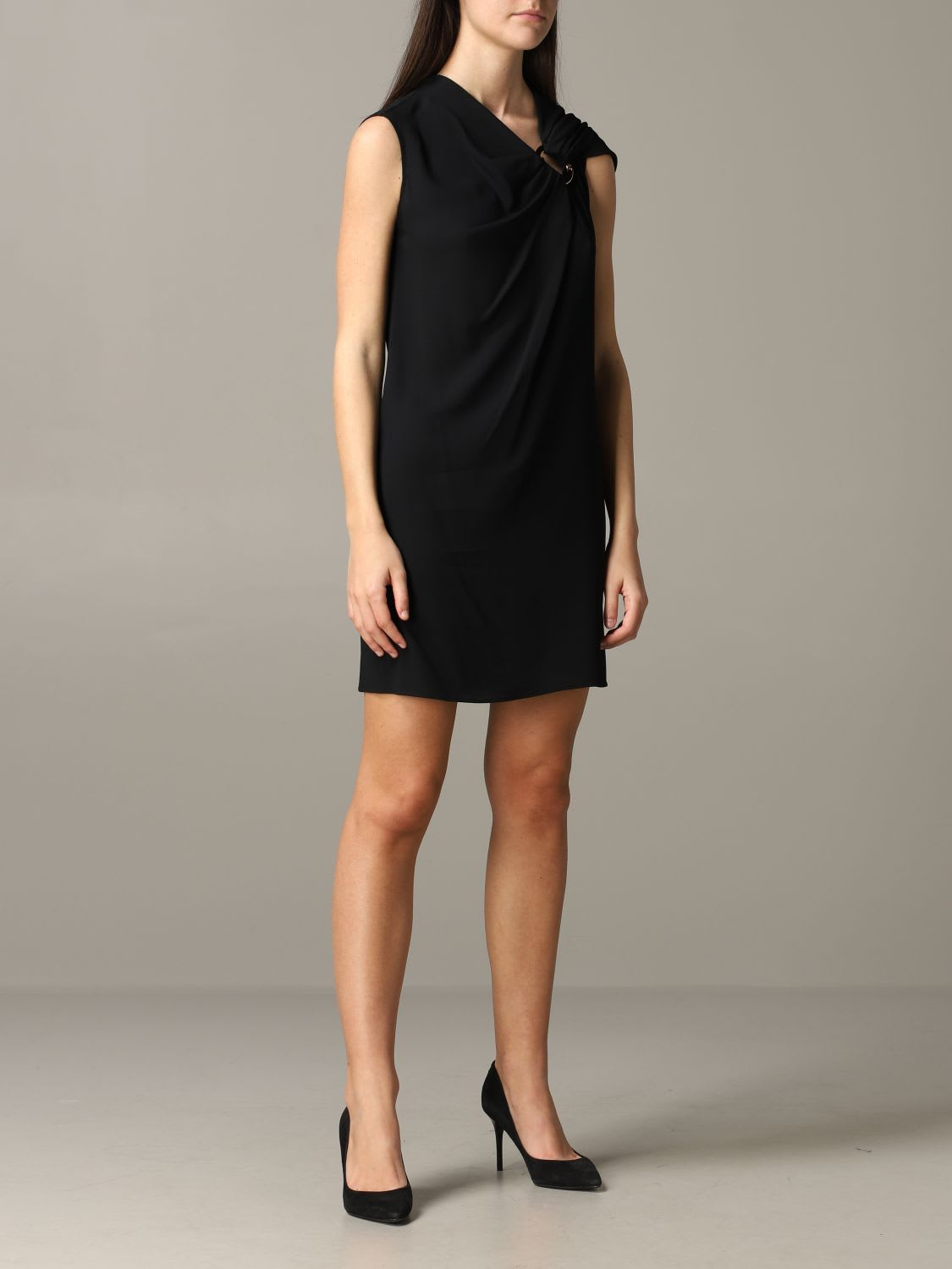 Buy Versace Dress Versace Jersey Dress With Metal Ring online, shop Versace with free shipping