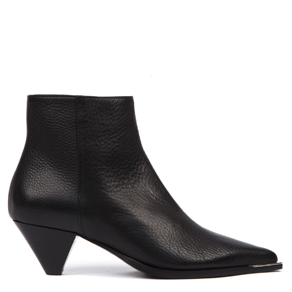 Black Hammered Leather Ankle Boot