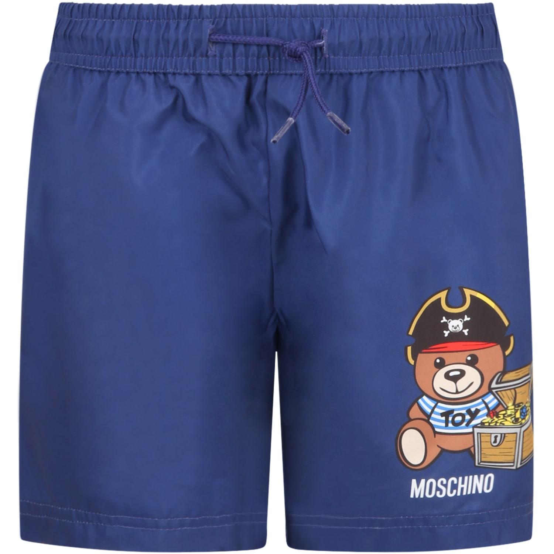 Moschino BLUE SWIMSHORT FOR BOY WITH TEDDY BEAR