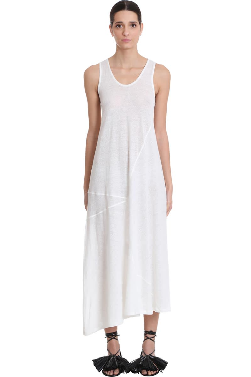 Buy Jil Sander Dress In White Cotton And Linen online, shop Jil Sander with free shipping