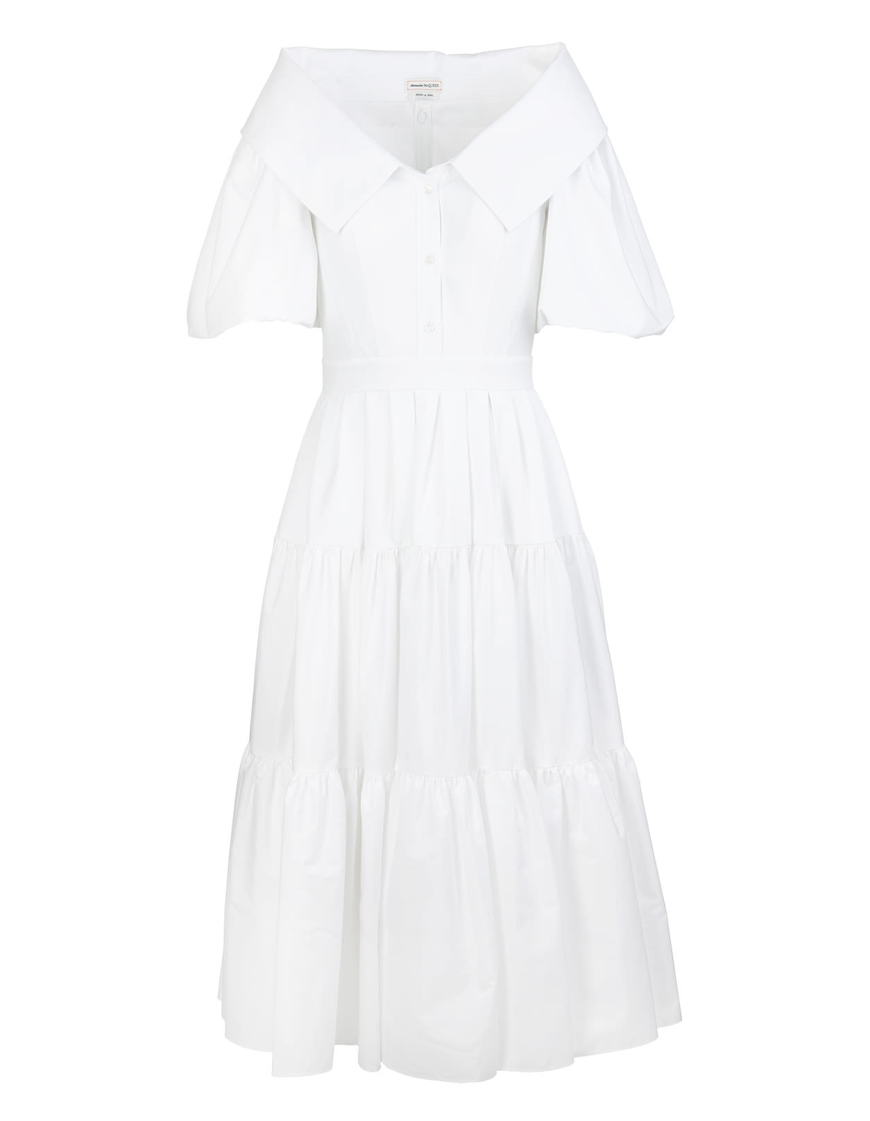 Alexander Mcqueen Cottons WHITE POPLIN MIDI DRESS WITH OPEN COLLAR