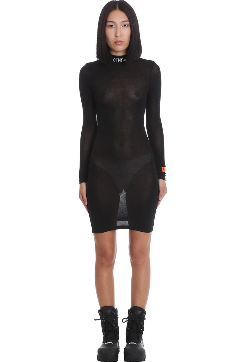 HERON PRESTON Ls Turtleneck C Dress In Black Viscose