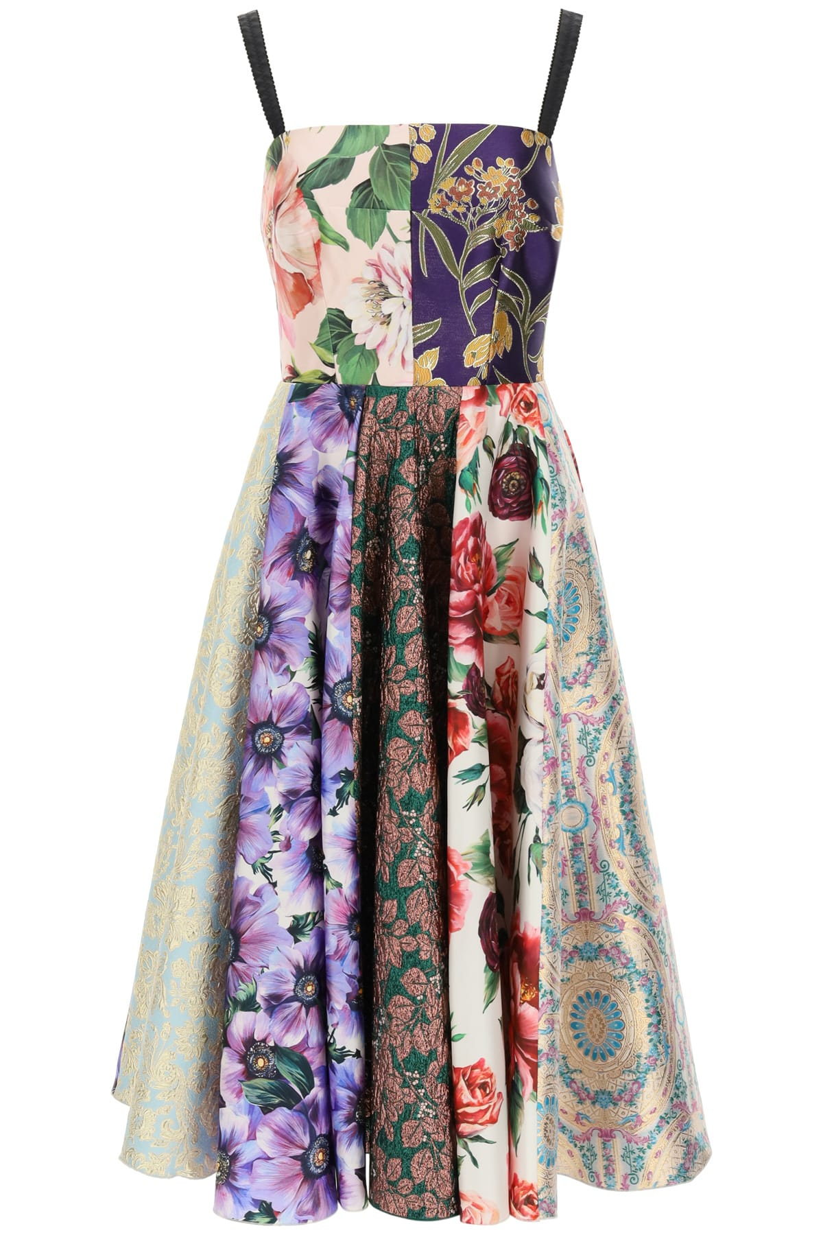 Buy Dolce & Gabbana Longuette Dress In Patchwork Jacquard online, shop Dolce & Gabbana with free shipping