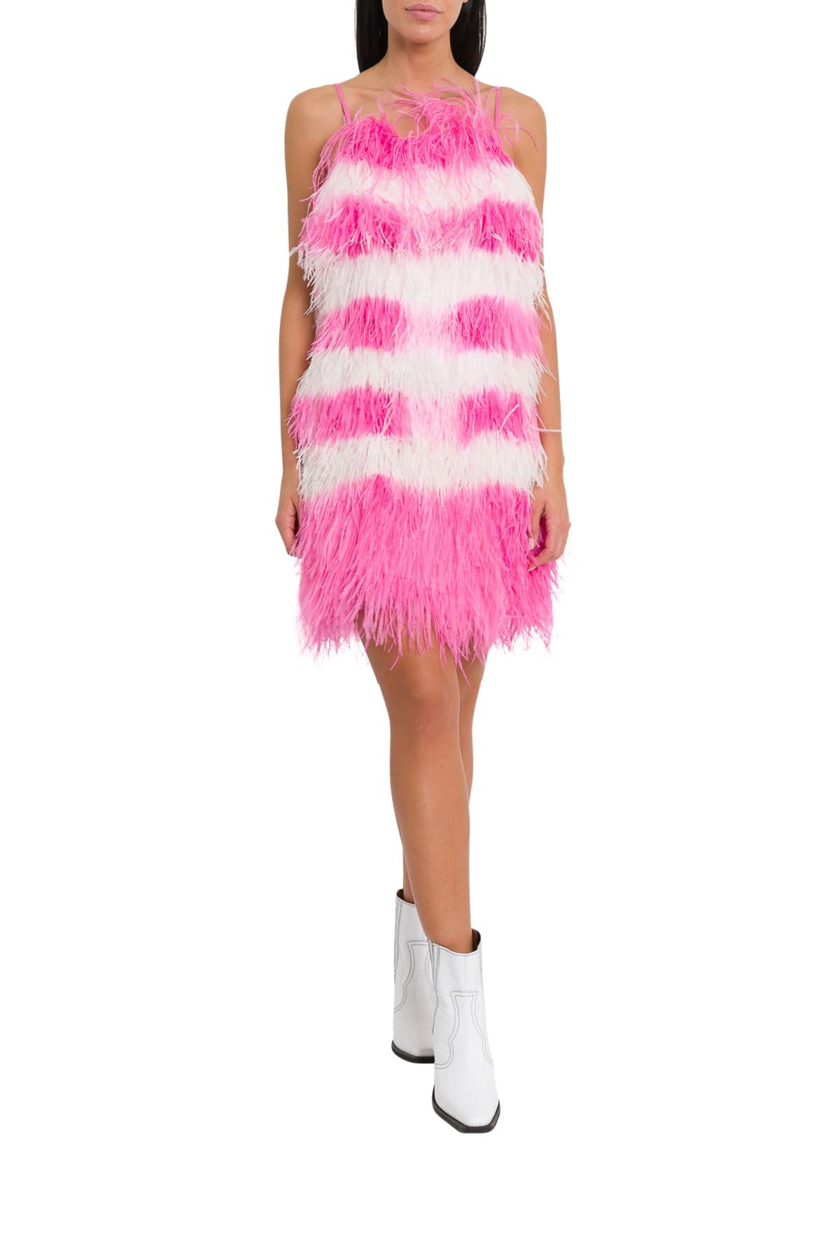 MSGM Striped Mini Dress In Feathers