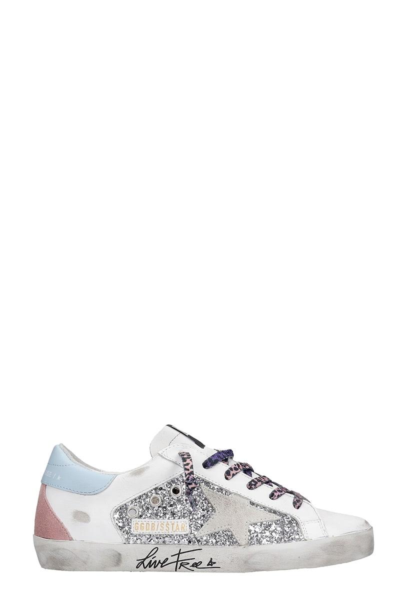 Golden Goose Superstar Doubl Sneakers In Silver Glitter