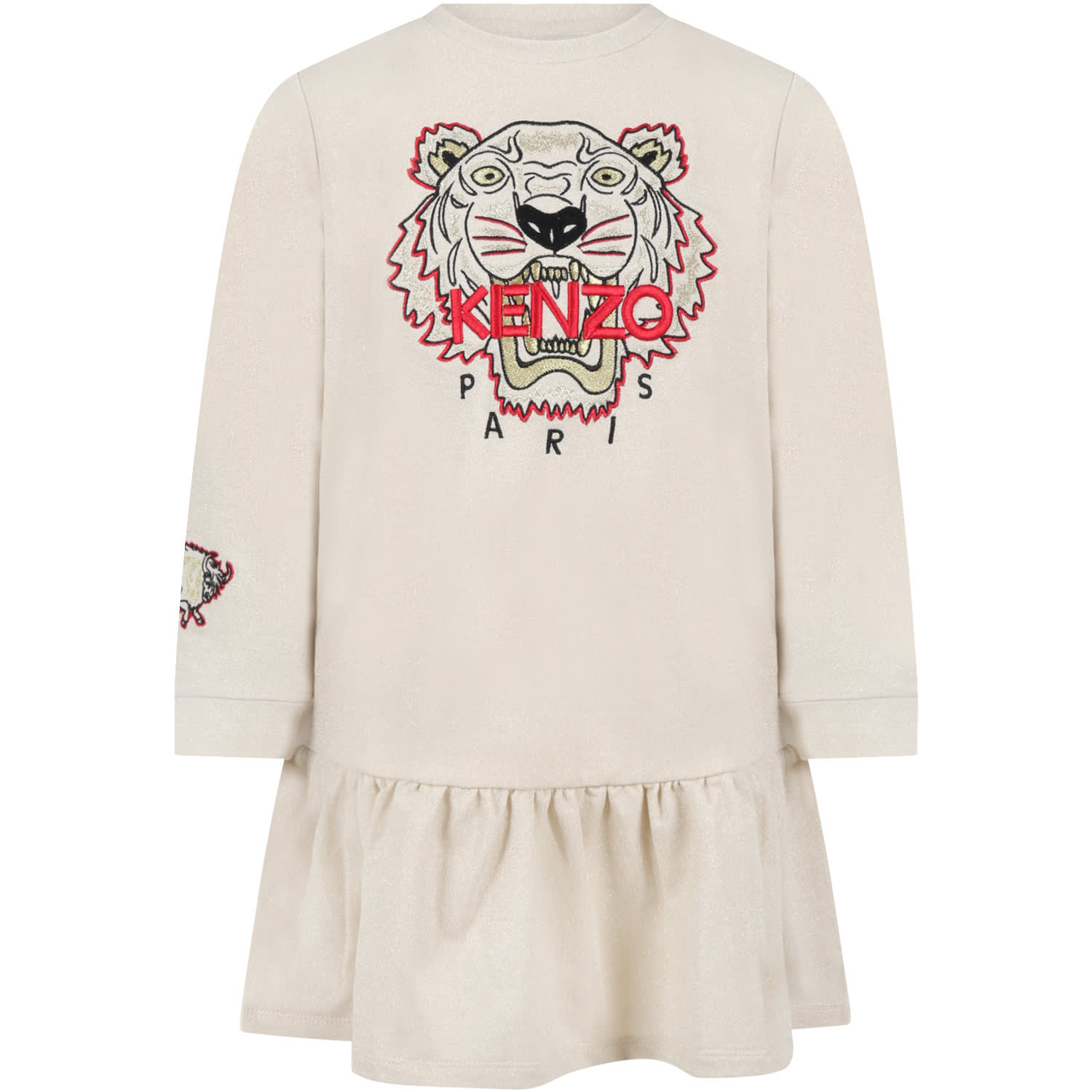 Beige Dress For Girl With Tiger