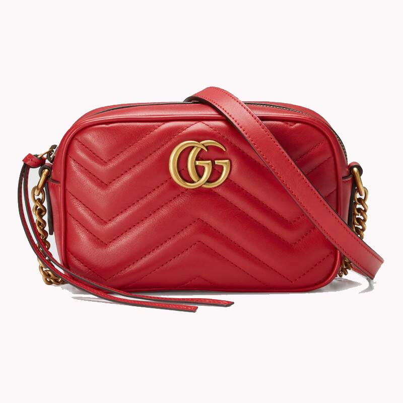 Gucci Marmont Mini Shoulder Bag In Rosso