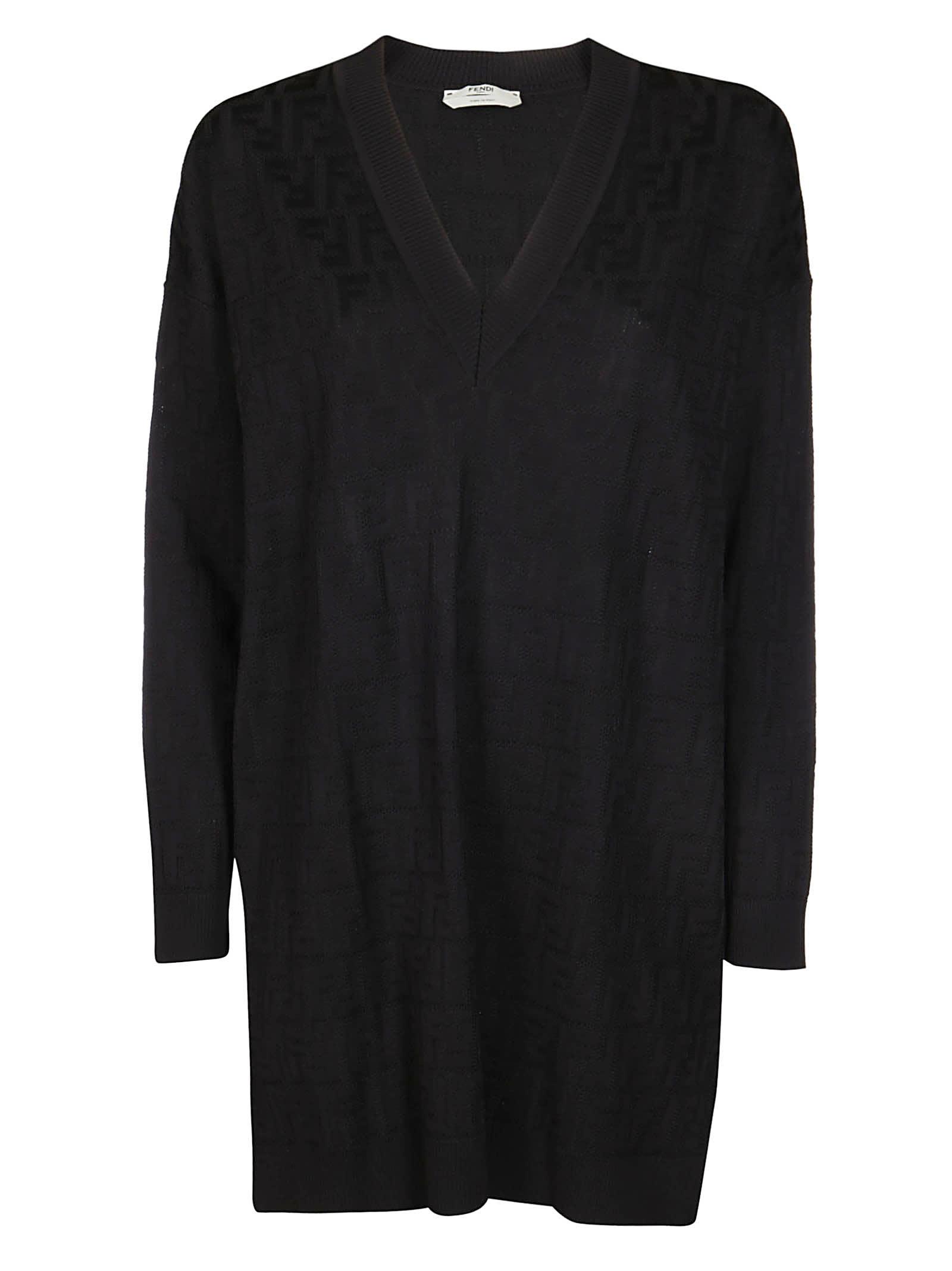 Buy Fendi Black Cotton-viscose Blend Dress online, shop Fendi with free shipping