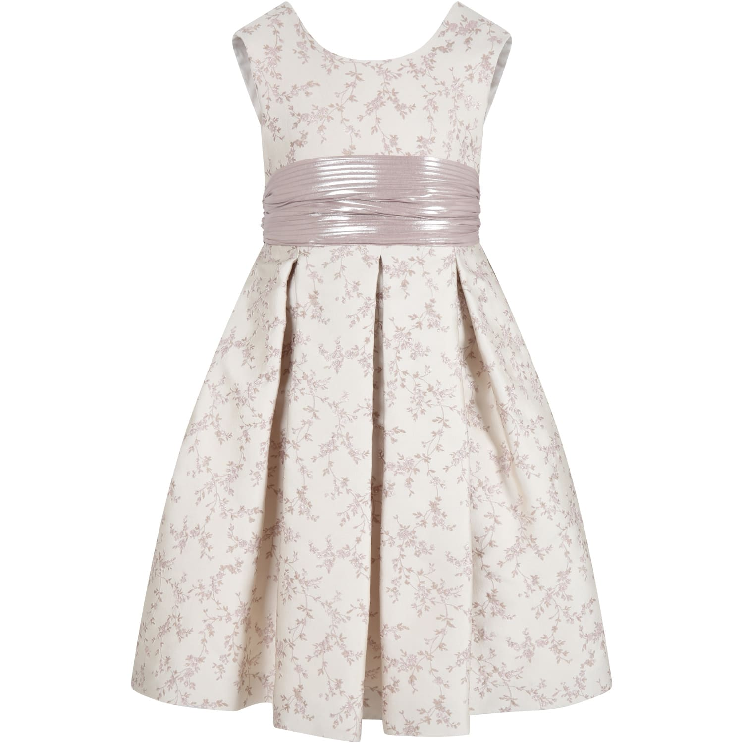 Beige Dress For Girl With Flowers