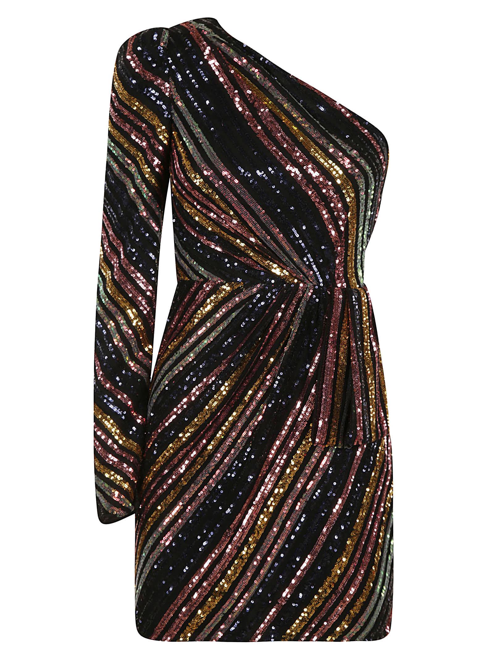 self-portrait Stripe Sequin Asymmetric Mini Dress