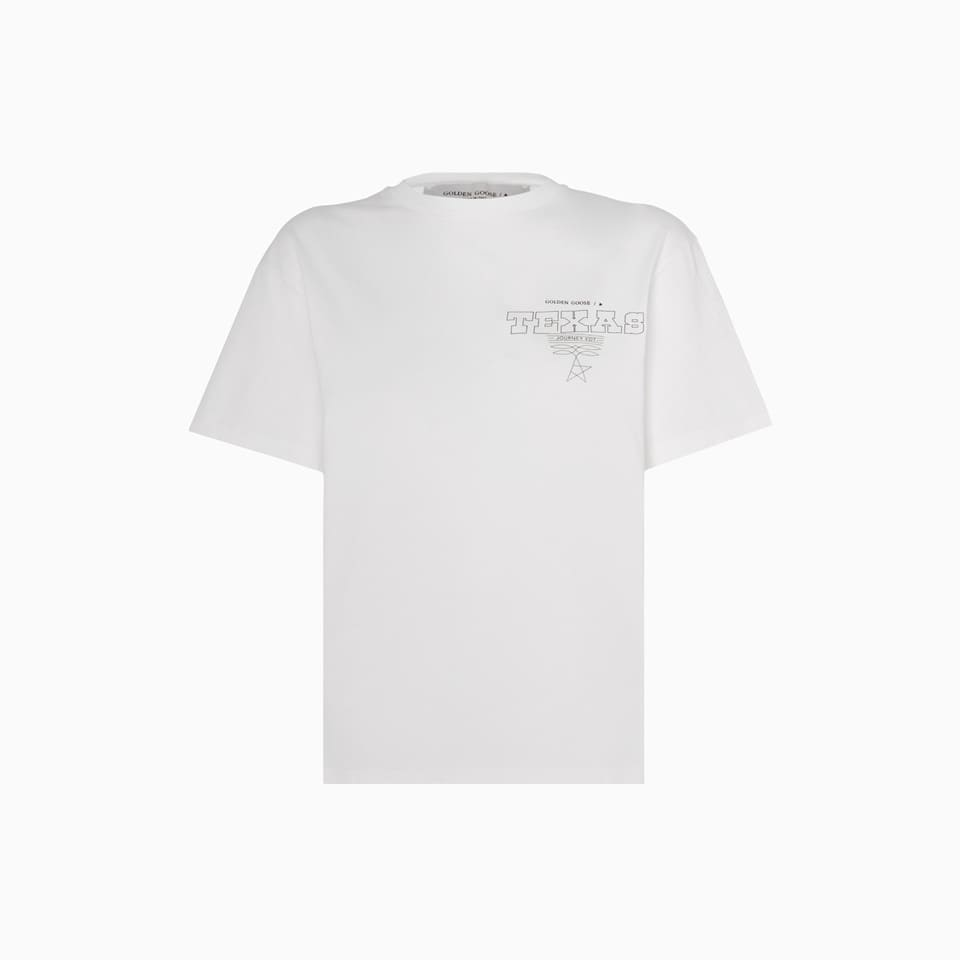 made in italy solid color cotton short sleeve scoop neck t-shirt. the nfc wireless technology allows to validate the authenticity of the item making it immediately a fashion collectible. golden goose texas print at chest and lettering print at back. regular fit. composition: 100% cotton.