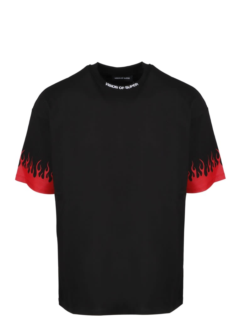 Vision Of Super BLACK TSHIRT RED FLAMES