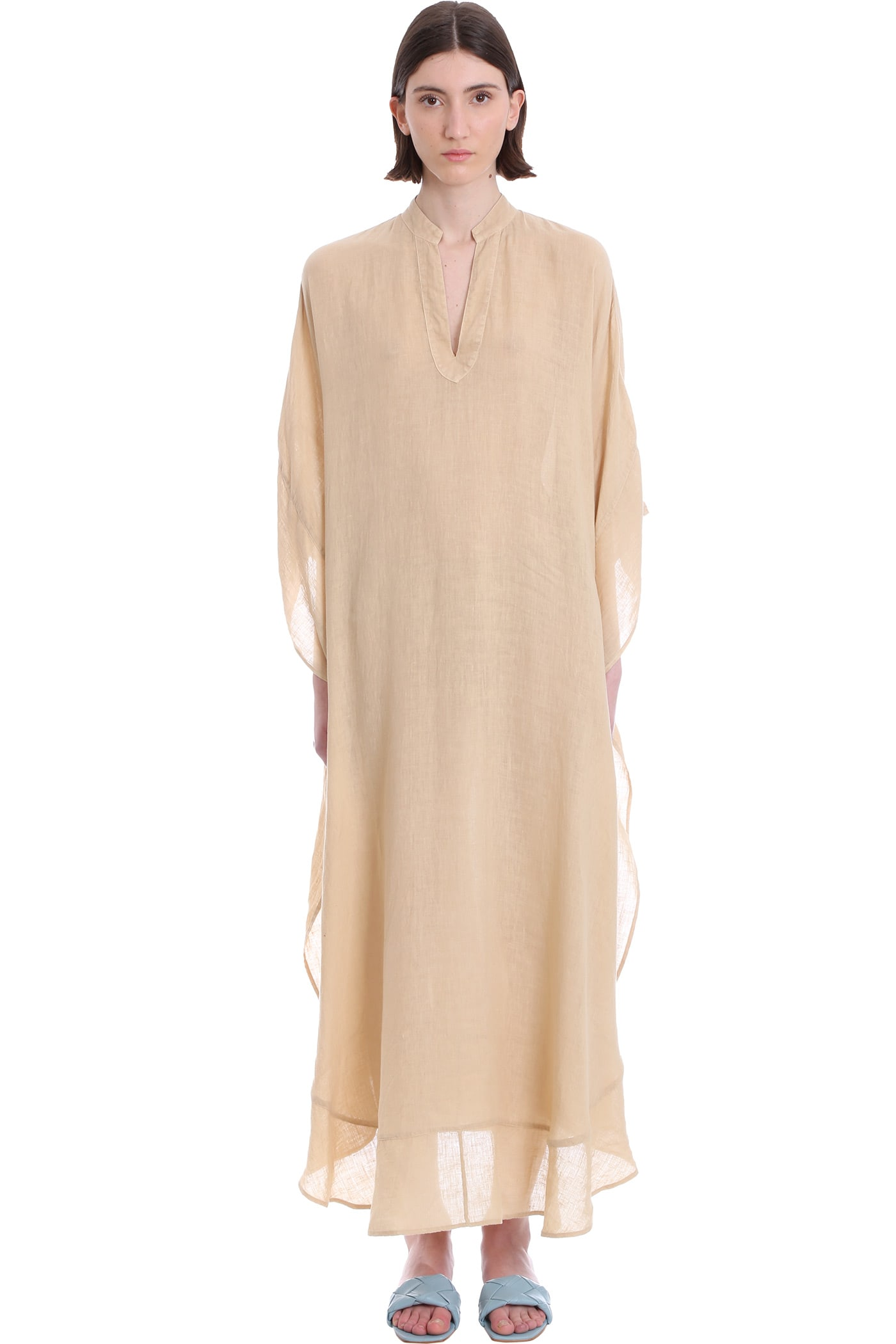 Buy 120% Lino Dress In Beige Linen online, shop 120 Lino with free shipping