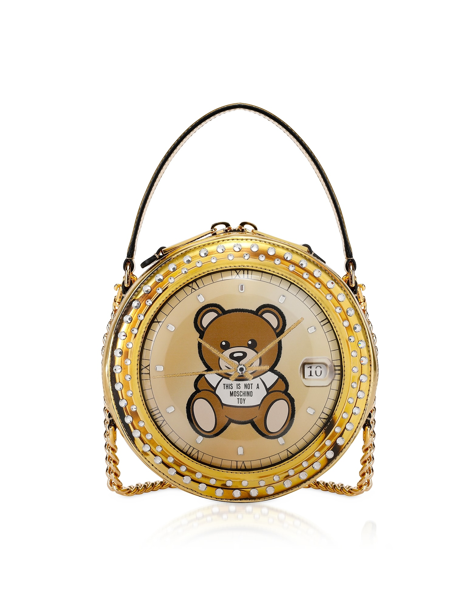 Moschino Pants CLOCK W/MOSCHINO TOY GOLD ROUND BAG