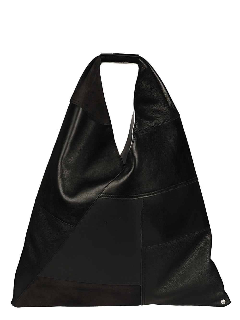 Mm6 Maison Margiela Leathers JAPANESE BAG CLASSIC PATCHWORK MIX LEATHER BLACK