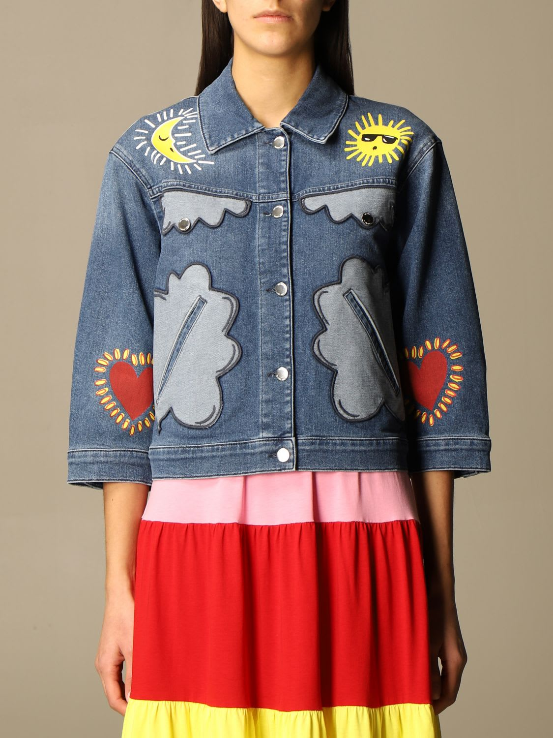 Love Moschino Jacket Love Moschino Denim Jacket With Patches