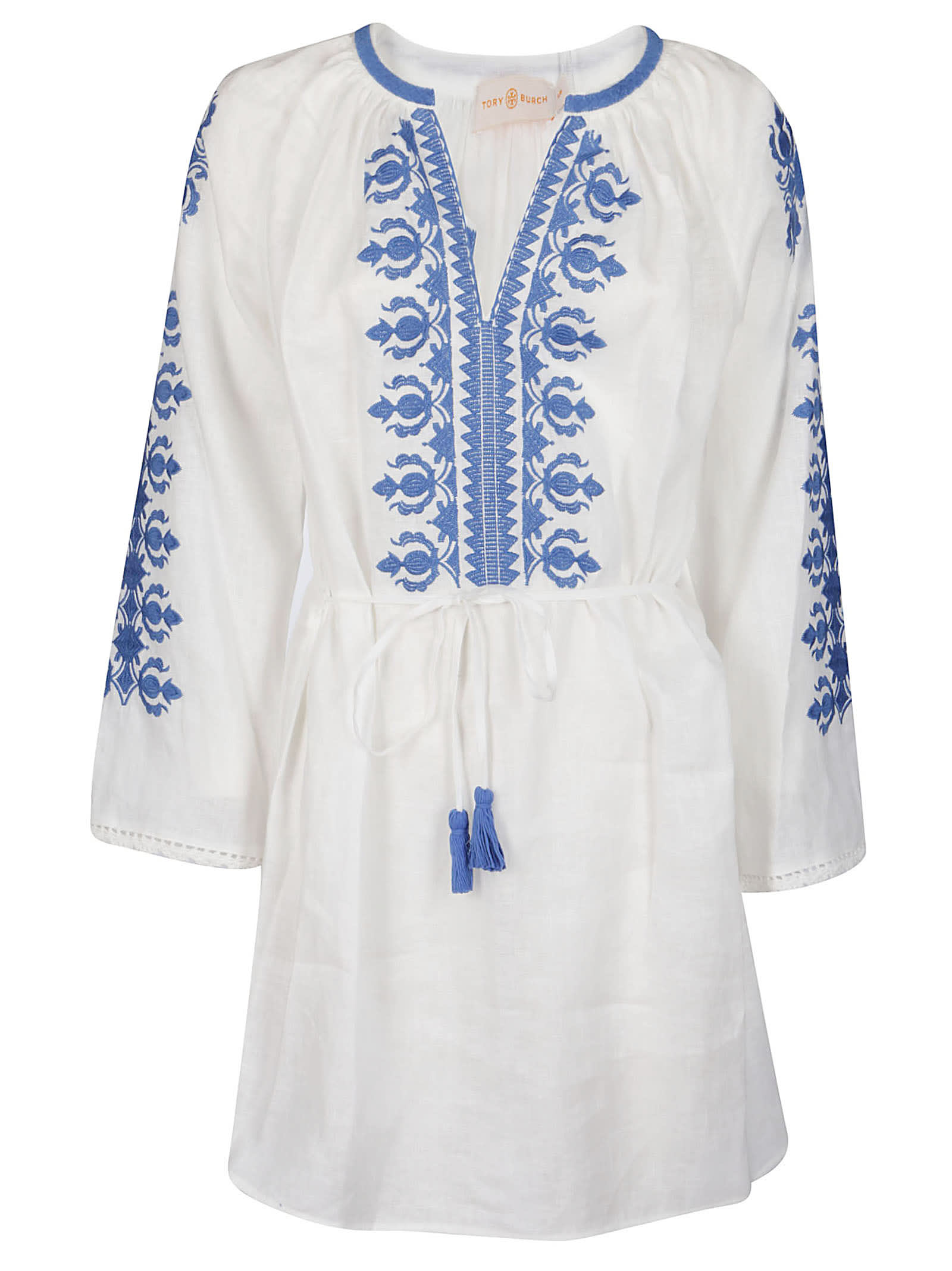 Buy Tory Burch Tassel-detail Embroidered Mini Dress online, shop Tory Burch with free shipping