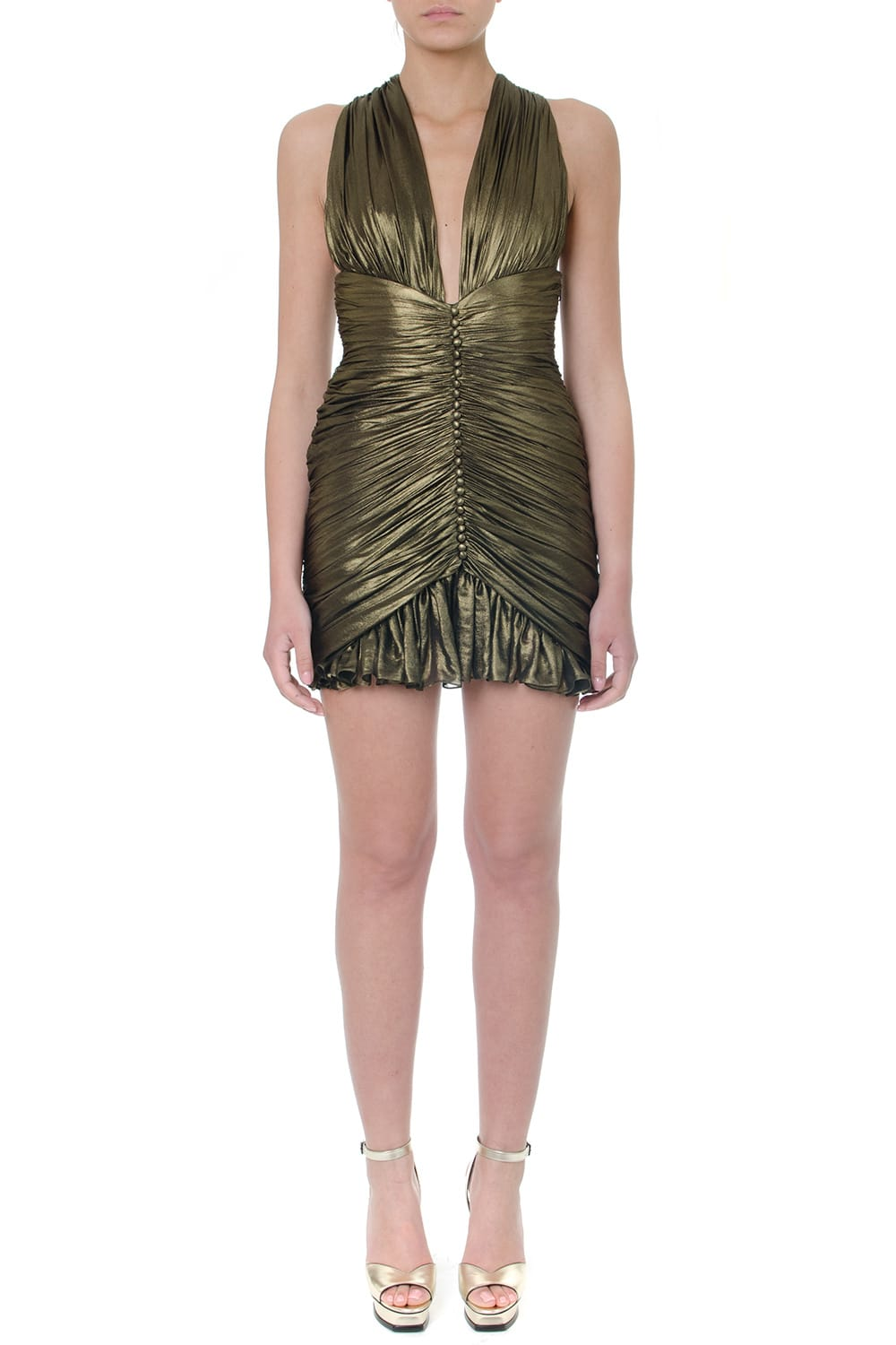 Saint Laurent Gold Gathered Dress In Crepe Chiffon