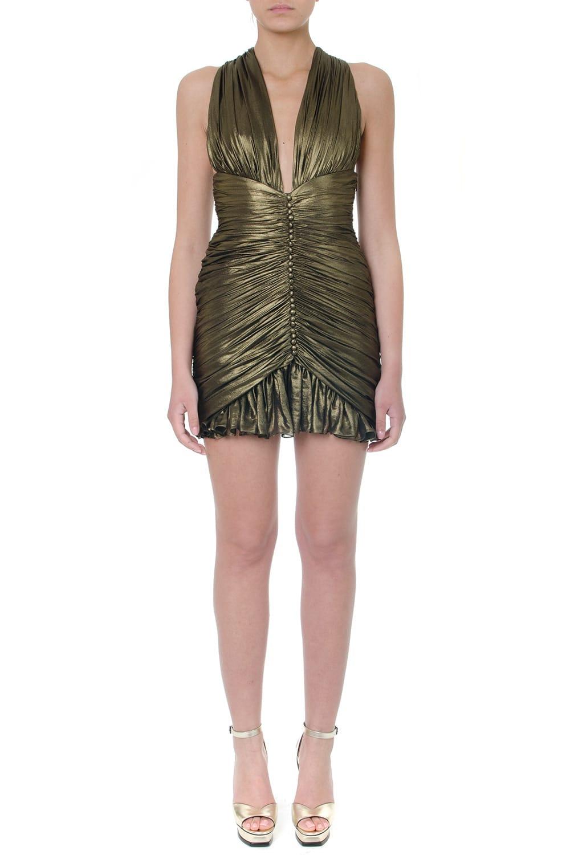 Saint Laurent Gold Gathered Dress In Crepe Chiffon