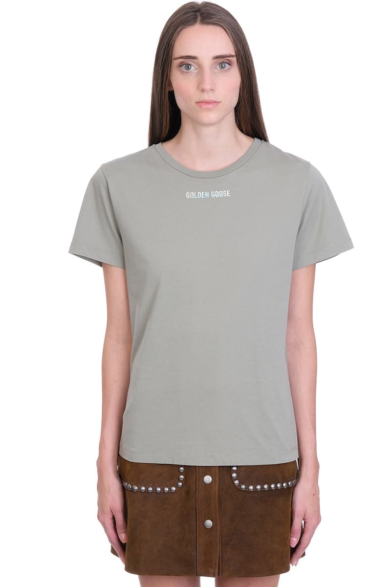 Ania T-Shirt in khaki cotton, round neck, short sleeves, logo print on front, back print, 100% cotton, Model is 180 cm and wear a size SComposition: Cotton