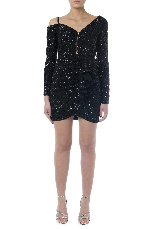self-portrait Black Textile Sequins Dress